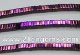 CHE563 15.5 inches 1*2*2mm square plated hematite beads wholesale