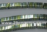 CHE582 15.5 inches 1*4*4mm square plated hematite beads wholesale