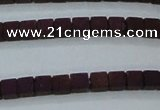 CHE610 15.5 inches 2*2mm cube matte plated hematite beads wholesale
