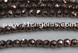 CHE691 15.5 inches 2mm faceted round plated hematite beads