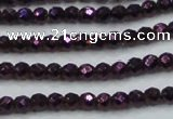 CHE704 15.5 inches 3mm faceted round plated hematite beads