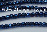 CHE705 15.5 inches 3mm faceted round plated hematite beads