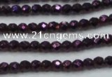 CHE714 15.5 inches 4mm faceted round plated hematite beads
