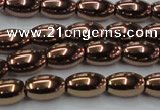 CHE743 15.5 inches 5*8mm rice plated hematite beads wholesale