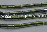 CHE762 15.5 inches 2*4mm tube plated hematite beads wholesale