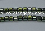 CHE779 15.5 inches 2*2mm drum plated hematite beads wholesale
