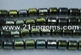 CHE789 15.5 inches 4*4.5mm drum plated hematite beads wholesale