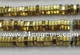 CHE843 15.5 inches 1*4mm hexagon plated hematite beads wholesale