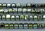 CHE869 15.5 inches 4*4mm dice platedhematite beads wholesale