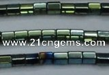 CHE900 15.5 inches 3*3mm faceted tube plated hematite beads wholesale