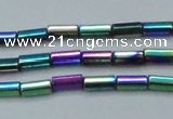 CHE910 15.5 inches 2*4mm faceted tube plated hematite beads wholesale