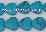 CHG63 15.5 inches 16*16mm heart turquoise beads wholesale