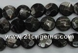 CHS17 15.5 inches 10mm faceted coin natural hypersthene beads
