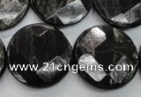 CHS22 15.5 inches 25mm faceted coin natural hypersthene beads