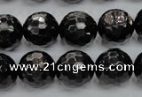 CHS48 15.5 inches 14mm faceted round natural hypersthene beads