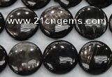 CHS63 15.5 inches 16mm flat round natural hypersthene beads