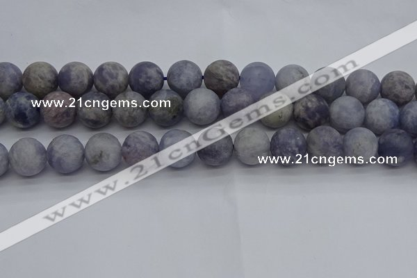 CIL112 15.5 inches 12mm round matte iolite gemstone beads