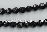 CJB06 16 inches 8mm faceted round natural jet gemstone beads wholesale