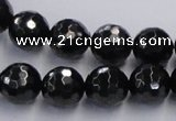 CJB08 16 inches 12mm faceted round natural jet gemstone beads wholesale