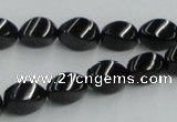 CJB15 16 inches 8*12mm twisted rice natural jet gemstone beads wholesale