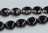 CJB21 16 inches 12mm flat round natural jet gemstone beads wholesale