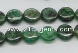 CKC108 16 inches 12mm flat round natural green kyanite beads wholesale
