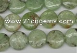 CKC254 15.5 inches 12mm flat round natural green kyanite beads