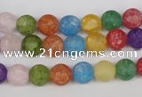 CKQ03 15.5 inches 8mm round matte dyed crackle quartz beads