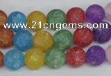CKQ04 15.5 inches 10mm round matte dyed crackle quartz beads