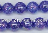 CKQ105 15.5 inches 14mm round AB-color dyed crackle quartz beads