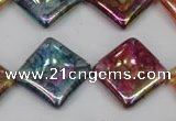 CKQ152 15.5 inches 20*20mm diamond AB-color crackle quartz beads