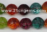 CKQ45 15.5 inches 14mm faceted round dyed crackle quartz beads