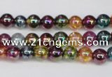 CKQ81 15.5 inches 6mm round AB-color dyed crackle quartz beads