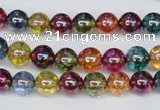 CKQ82 15.5 inches 8mm round AB-color dyed crackle quartz beads