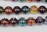 CKQ83 15.5 inches 10mm round AB-color dyed crackle quartz beads