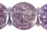 CKU05 15 inches 25mm coin purple kunzite beads wholesale