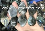CLB1002 15.5 inches 18*35mm - 25*45mm flat teardrop labradorite beads