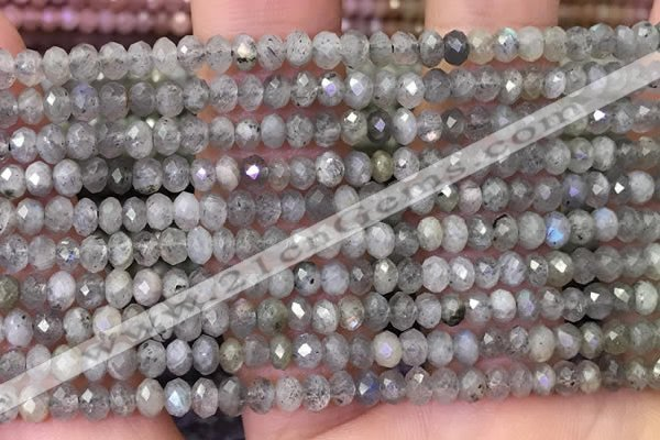 CLB1050 15.5 inches 3*4mm faceted rondelle labradorite beads wholesale