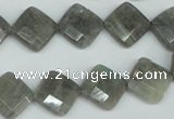 CLB181 15.5 inches 12*12mm faceted diamond labradorite beads