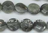 CLB192 15.5 inches 16mm faceted coin labradorite gemstone beads