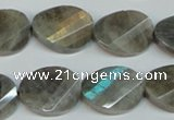 CLB202 15.5 inches 15*20mm faceted & twisted oval labradorite beads