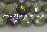 CLB677 15.5 inches 10mm faceted coin AB-color labradorite beads