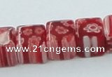 CLG564 16 inches 8*8mm cube lampwork glass beads wholesale