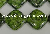 CLJ308 15.5 inches 20*20mm diamond dyed sesame jasper beads wholesale