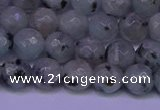 CLJ422 15.5 inches 8mm faceted round sesame jasper beads