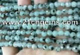 CLJ430 15.5 inches 6mm faceted round sesame jasper beads