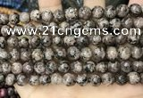CLJ530 15.5 inches 4mm,6mm,8mm,10mm & 12mm round sesame jasper beads