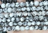 CLJ550 15.5 inches 6mm,8mm,10mm & 12mm faceted round sesame jasper beads
