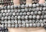 CLJ583 15 inches 8mm round matte sesame jasper beads
