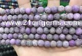 CLJ586 15 inches 8mm round matte sesame jasper beads